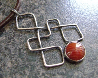 NEVER-ENDING - Agate Pendant, Celtic Knot Pendant, Jewelry, Celtic Jewelry, Red Agate, Antiqued Silver, Sterling Silver, Eternal Jewelry
