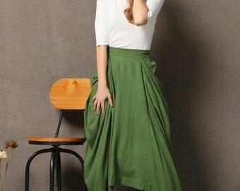 Moss Green Linen Skirt - Modern Casual Comfortable Everyday Woman's Skirt with Elasticated Waist  C619