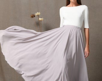 Maxi skirt gray chiffon skirt women's skirt (C572)