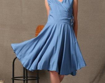 Blue Elegant Linen Dress With Pockets C592