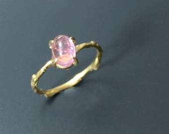 Pink tourmaline ring Vermeil branch ring Twig ring Nature inspired jewelry
