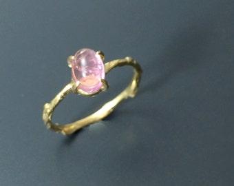 pink tourmaline ring vermeil branch ring twig ring