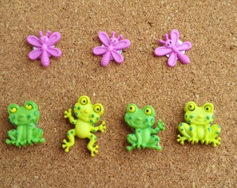 Happy Frogs Push Pins or Magnets