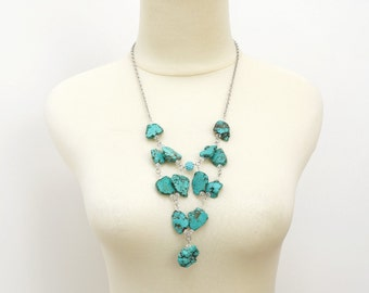 Turquoise Magnesite Stone Statement Necklace, High Fashion Raw Stone Jewelry