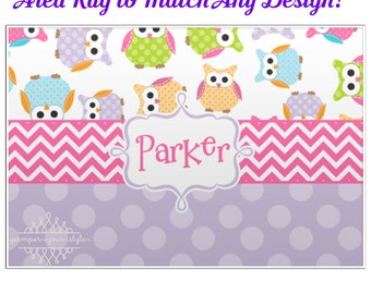 Personalized Owl Bedroom Rug - Personalized Custom Rug  - Custom Rug designed to Match your Decor