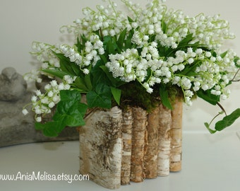 natural birch bark wood vases wedding flower pot, bridal shower, centerpieces, baskets, woodwork, rustic, chic wedding lily of the valley