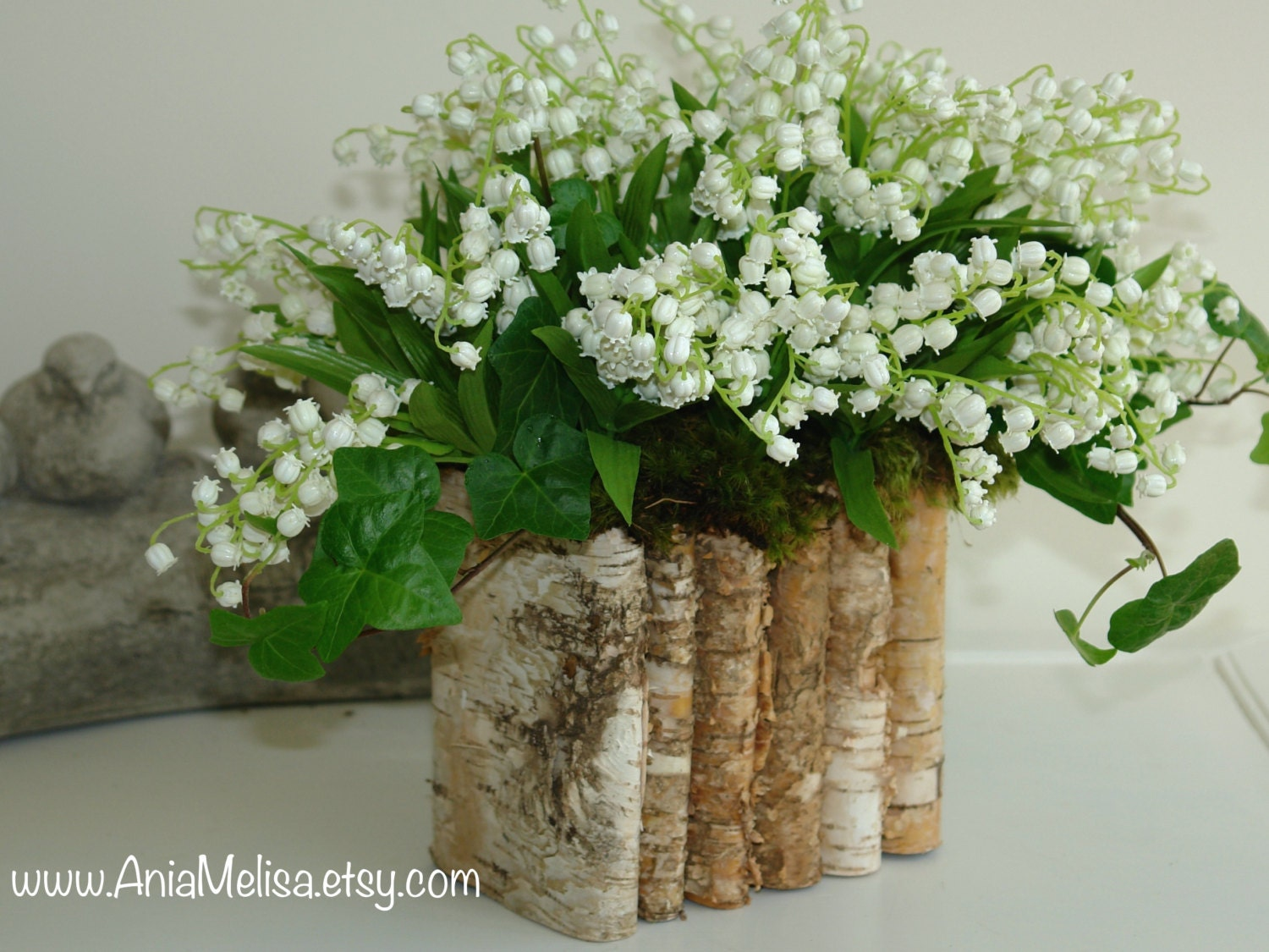 Lily Vase Wedding Flowers : Natural birch bark wood vases wedding flower pot bridal