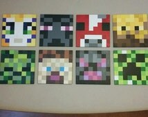 """12""""x 12"""" Canvas paintings inspired by """"Minecraft"""" / Wall decor/boys room decor"""