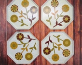 Set of 4 Erwin Kalla Fibrilla Snack Plates Mid Century Modern Floral Lightweight Octagonal