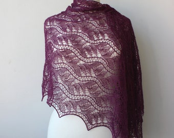Purple lace shawl, Alpaca / Silk handknit lace stole