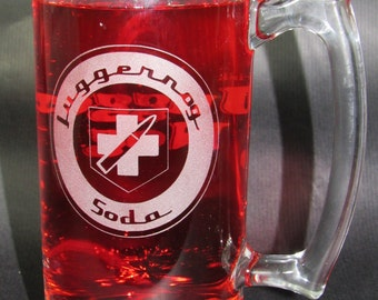 Juggernog Soda Etched Beer Mug: COD Zombies Inspired Jugger-Nog Soda Mug Zombies Perk Cola Perk Machine Perk Soda Zombies