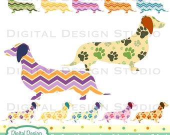 Dachshund Patterned clip art set with INSTANT DOWNLOAD for Personal and commercial use.