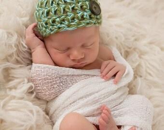 Crocheted Baby Boy Beanie, Newborn Hat, Baby Photo Prop