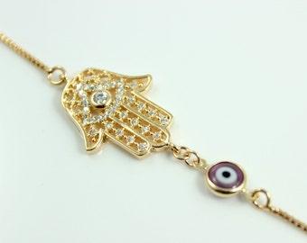 Hamsa Bracelet Lavender Purple Evil Eye Pendant Gold Filled Crystal Hand of Fatima Charm Kabbalah Jewelry Womens Bracelets Protection Gift