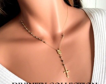 Rosary Necklace Gold Filled Pyrite Gemstones Plain or Crucifix Cross Necklaces Women Unique Lariat Y Style Christina Catholic Jewelry Gift