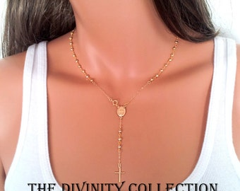 Gold Rosary Necklace Pyrite Gemstone Cross Necklaces Miraculous Jewelry Women Confirmation Gift