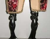 Pair of Figural Art Deco 1924 Boudoir Table Lamps with Original Clip Half Shades