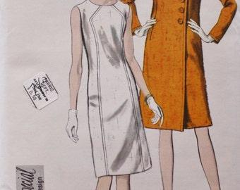 60s Vogue 6697/ Dress & Coat Sewing Pattern /Special Design /UNCUT w/ Label  /Vintage Sewing Pattern /Bust 34