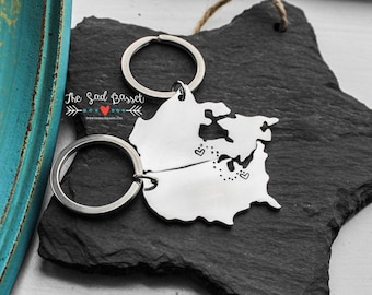 Long Distance Love Keychain Set | You Pick The Countries | Long Distance Relationship | Couples Keychain | Deployment | Hand Stamped Country
