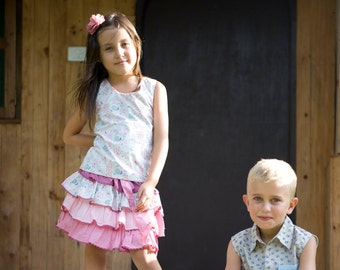 Sale,Girls Ruffled Skirt,Pink Skirt, Toddler Twirl skirt,Girls Summer Skirt,Birthday Skirt,Party Skirt,READY TO SHIP