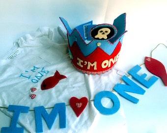 First birthday set, fishes first birthday, garland, crown, shirt