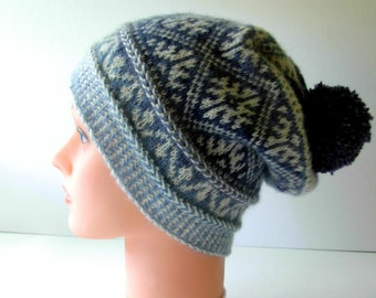 Knitted Hat Adult Teen Hat - Autumn Winter Accessories - handmade white blue