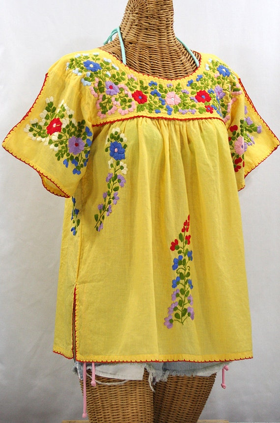 Split sleeve mexican peasant top blouse hand embroidered