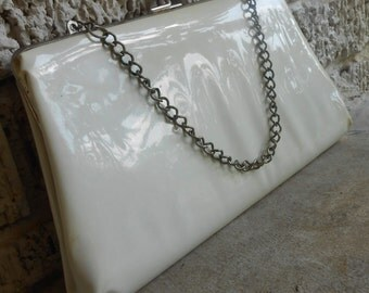Vintage White Patent Leather Evening Bag Clutch