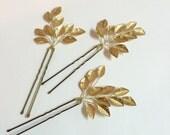 Set of 3 bridal hair pins, floral hair pins, wedding hair pins, bridal hair accessories, gold hair pins, hair pieces for wedding, hair pins