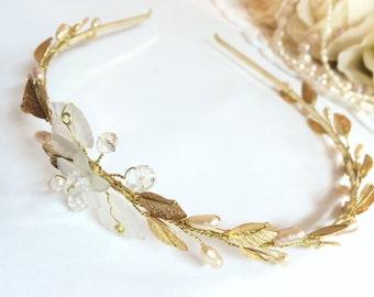 Bridal tiara, gold wedding tiara, pearl tiara headband, leaf tiara crown, princess tiara, headband tiara, bridal crown, wedding crown tiara