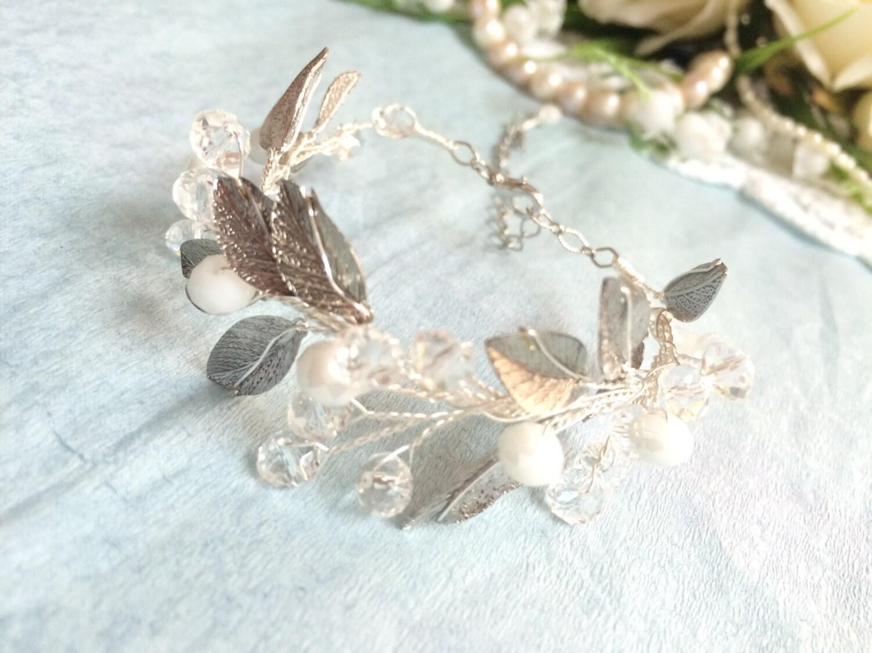 Bridal Flower Bracelet : Bridal bracelet crystal flower wedding