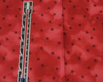 """Fat Quarter Quilting Cotton Red Semi-Solid with Black Micro Flowers - 18"""" x 22"""""""