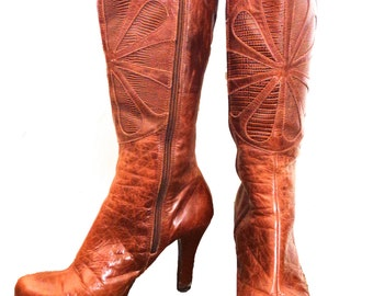 Vintage Seventies Healed Leather Brown Boots w/ Flower
