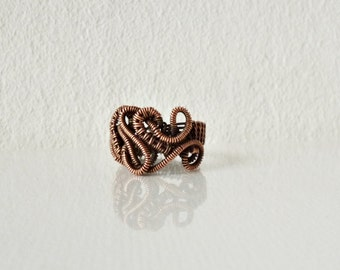 Unique ring, Wire wrapped copper ring, Handmade jewelry