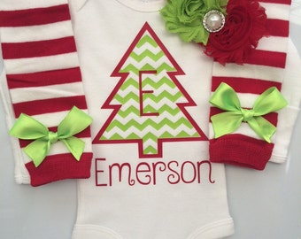 Baby Girl Christmas outfit-  Preemie Newborn and 3 months- newborn leg warmers - Personalized christmas outfit - preemie christmas