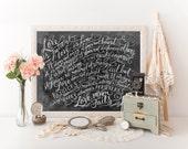 Love is Patient Chalk Art Print - Scripture Print - Wedding Gift - Wedding Decor - Chalkboard Art - 1 Corinthians Print - Paper Anniversary