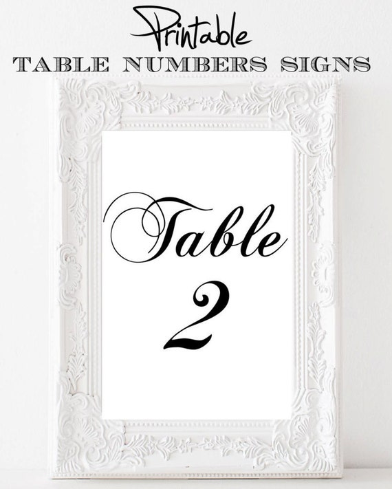 Printable 4 x 6 Table Number SignsBlack and White 11-20