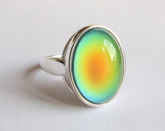 Mood Ring Sterling Silver 925 - 18x13 Quality Mood Stone