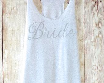 Bridesmaid Tank Top. Silver Glitter Bridesmaid Tanks. Bridesmaid Shirts. Bride Shirt. Maid of Honor Tank Bachelorette Party Shirts