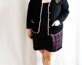 Plus Size - Vintage Black Metallic Detail Cardigan Sweater (Size 12/14)