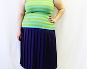 Plus Size - Vintage Blue & Green Stripe Sweater Knit Tank Top (Size 12/14)