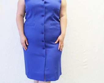 Plus Size - Vintage Royal Blue Sleeveless Button Front Jumper Dress (Size 18W)