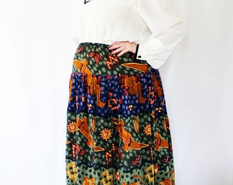 Plus Size - Vintage Tiered Animal Print Midi Skirt (Size 22W)