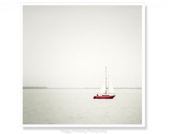 Red Sailboat Art, Sailing Decor,  Bathroom Art Print, Sailing Art, Nautical Decor,  Sail Boat Print, Sailboat Photograph