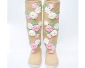Crochet Boots Woman Shoes Floral Boots Outdoor Crocheted Boots for the Street Shabby Chic Flower shoes Pastel Colors Gift for Her