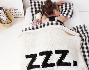 Bébé doudou ZZZ lit taille lit couverture à la main en tricot bébé couverture nouveau bébé chambre de bébé moderne