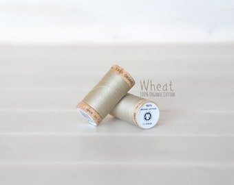 Organic Cotton Thread GOTS - 300 Yards Wooden Spool  - Thread Color Wheat  - No. 4825 - Eco Friendly Thread - 100% Organic Cotton Thread