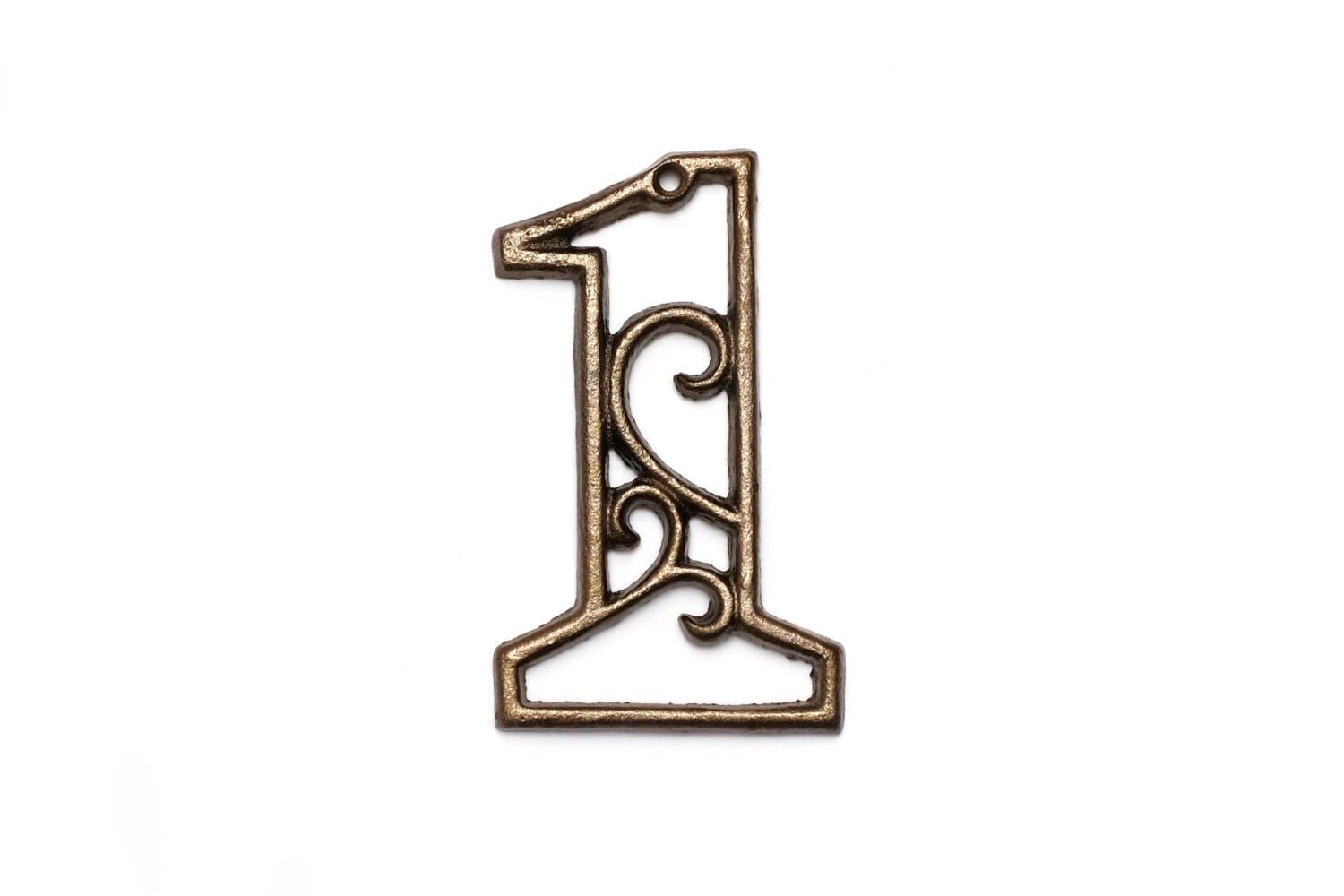 one cast iron house number 1 aged brass wall decor decorative. Black Bedroom Furniture Sets. Home Design Ideas