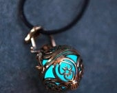 NEW!!! Steampunk Celtic Hearts Bronze Glow In The Dark Pendant Locket in Green or Aqua