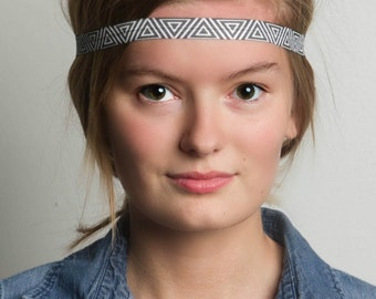 Skinny Headband - Black and white elastic - BLACK PYRAMID